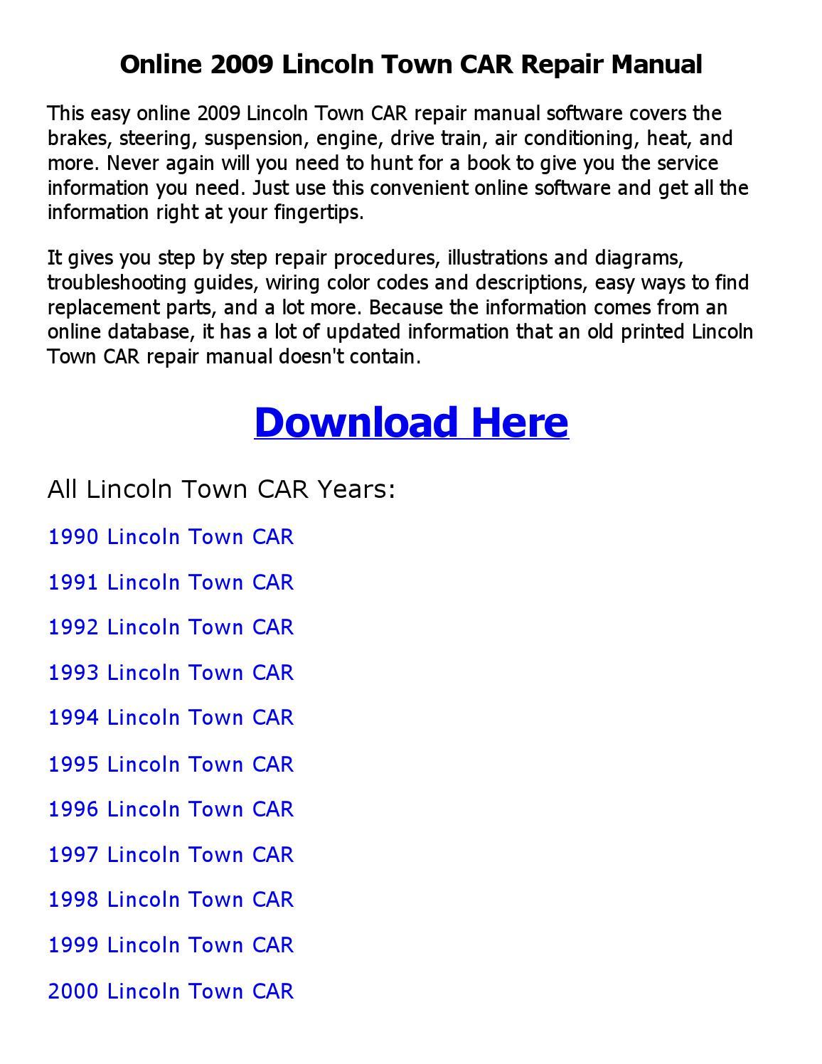 2009 Lincoln Town Car Repair Manual Online By Chaudhary