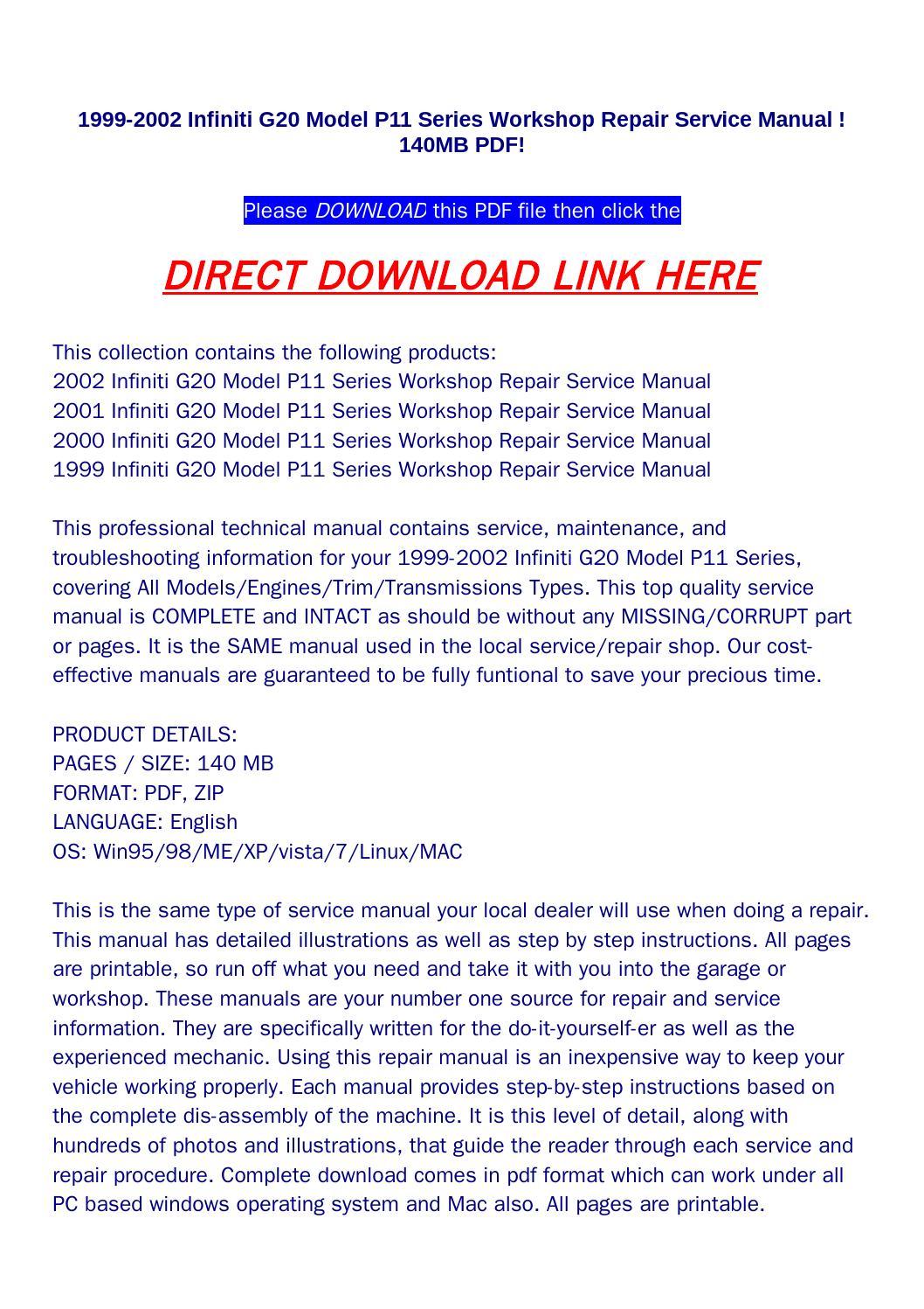 1999 2002 infiniti g20 model p11 series workshop repair service manual  !140mb pdf! by bonus300 - issuu