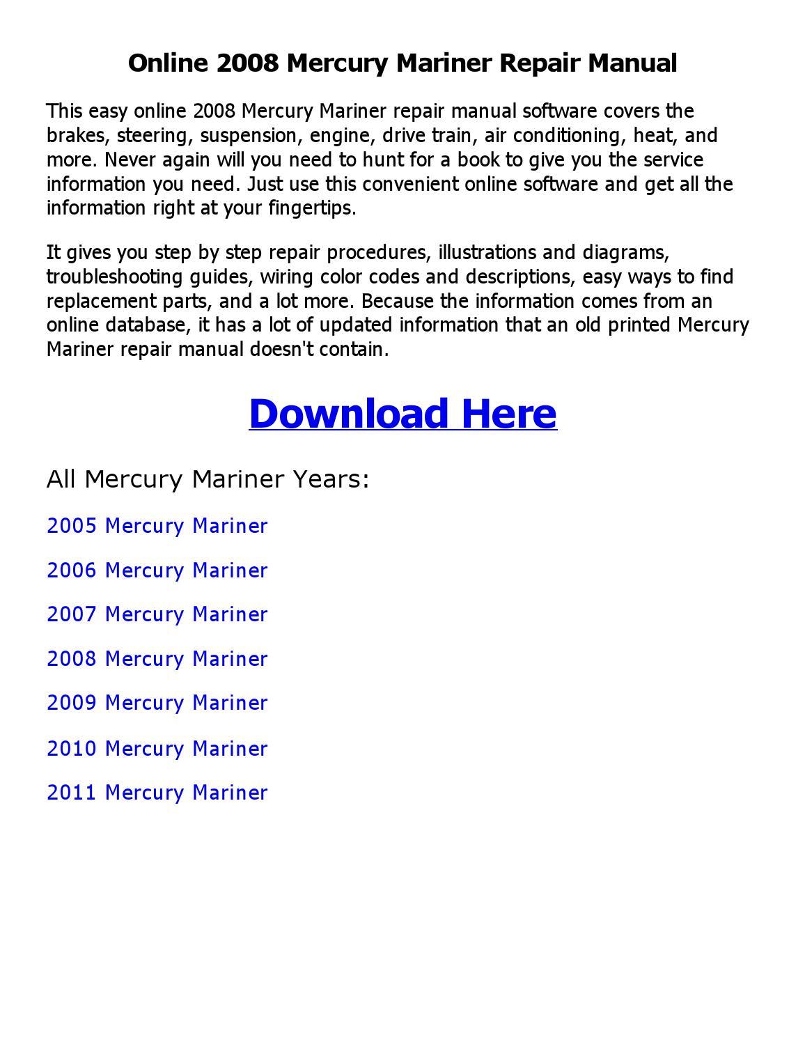 2011 Mercury Mariner Wiring Diagram Library 2005 2008 Repair Manual Online By Imran Ali Issuu