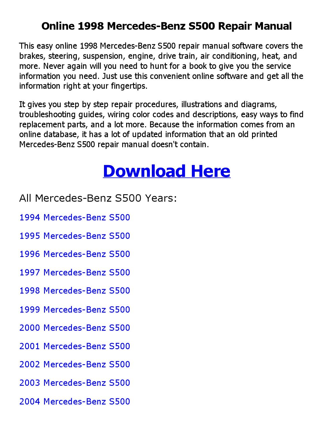 1998 mercedes benz s500 repair manual online by mhraihan issuu rh issuu com  Mercedes-Benz 1995 S500 Coupe 1995 Mercedes S500 Review