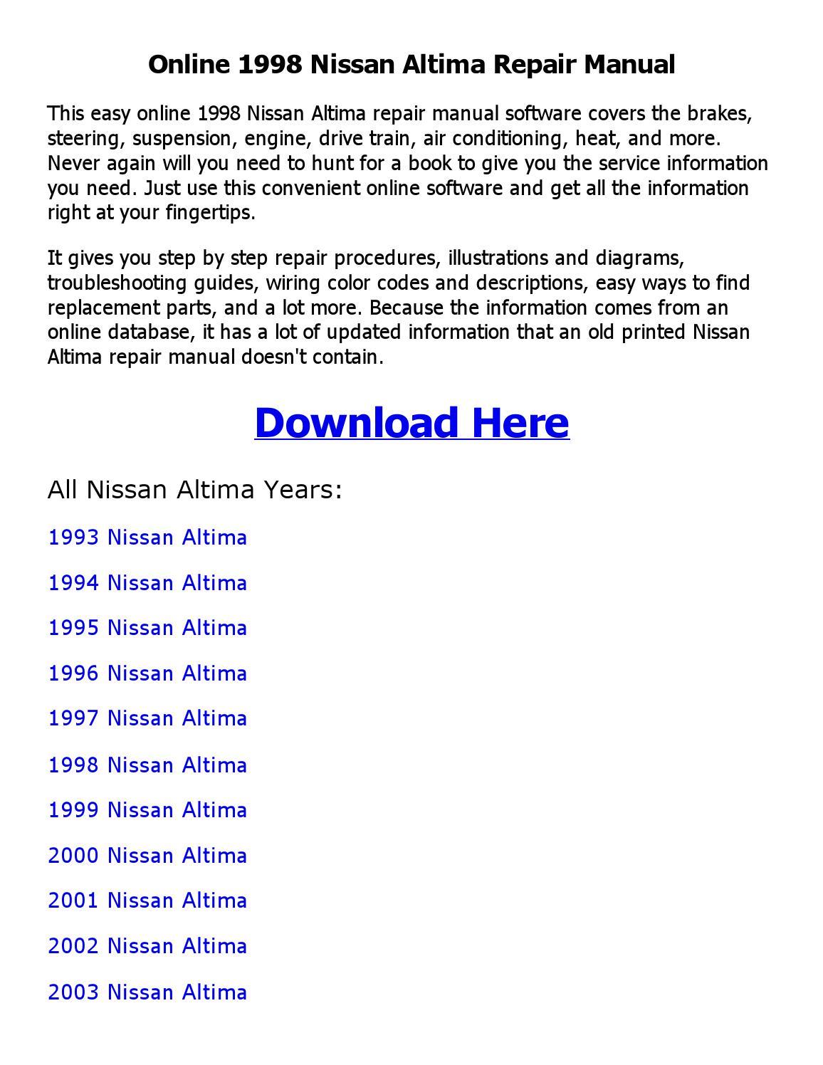 Wrg-7069] 1998 nissan altima repair manual | 2019 ebook library.