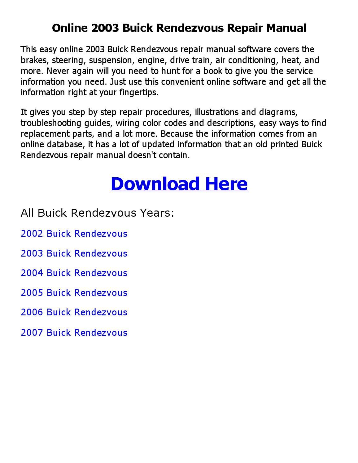 2003 Buick Rendezvous Repair Manual Online By Ehsaan Issuu 2005 Wiring Diagram