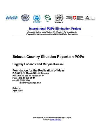 Belarus Country Situation Report on POPs by Arnika - issuu
