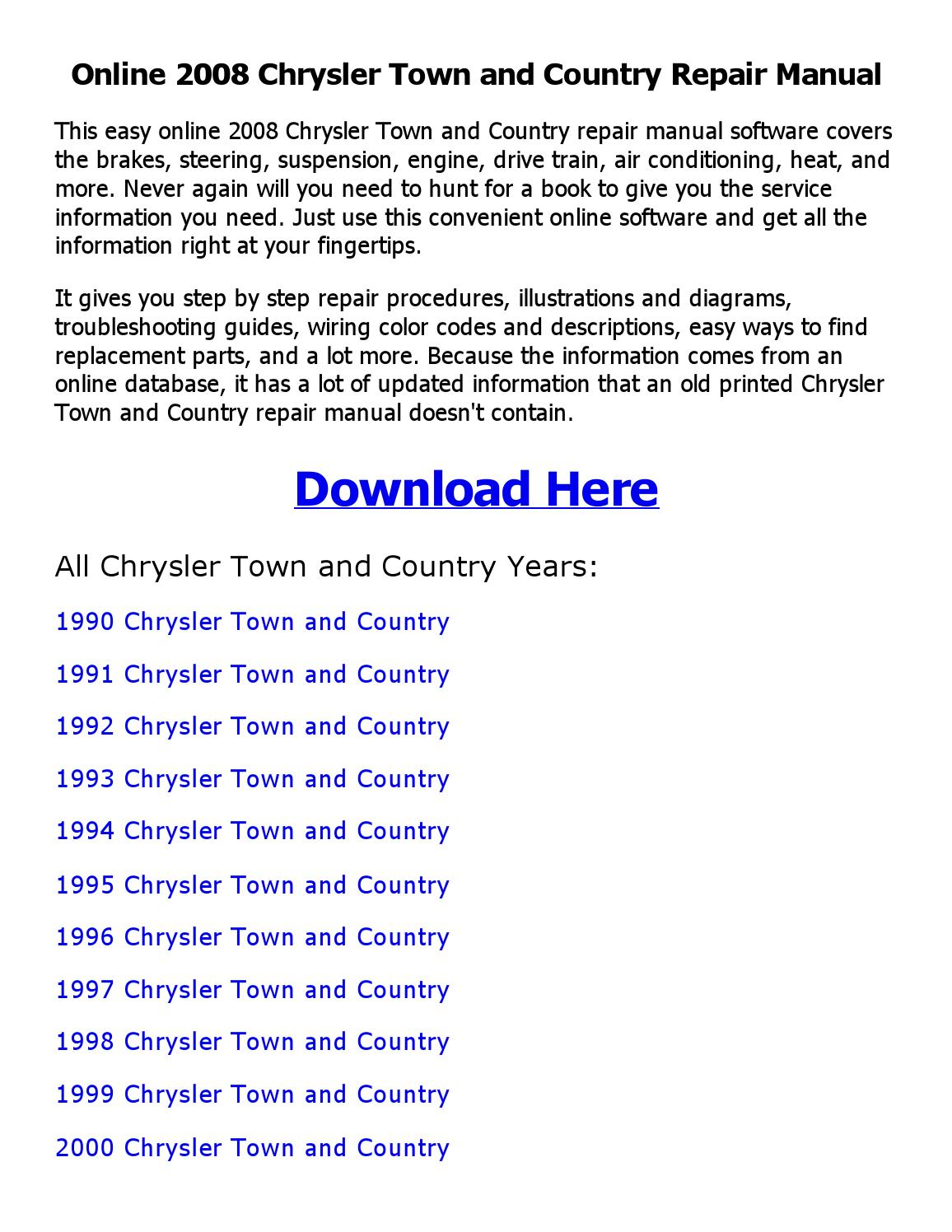 2008 Chrysler Town And Country Repair Manual Online By Tauhid Issuu 1994 Wiring Diagram