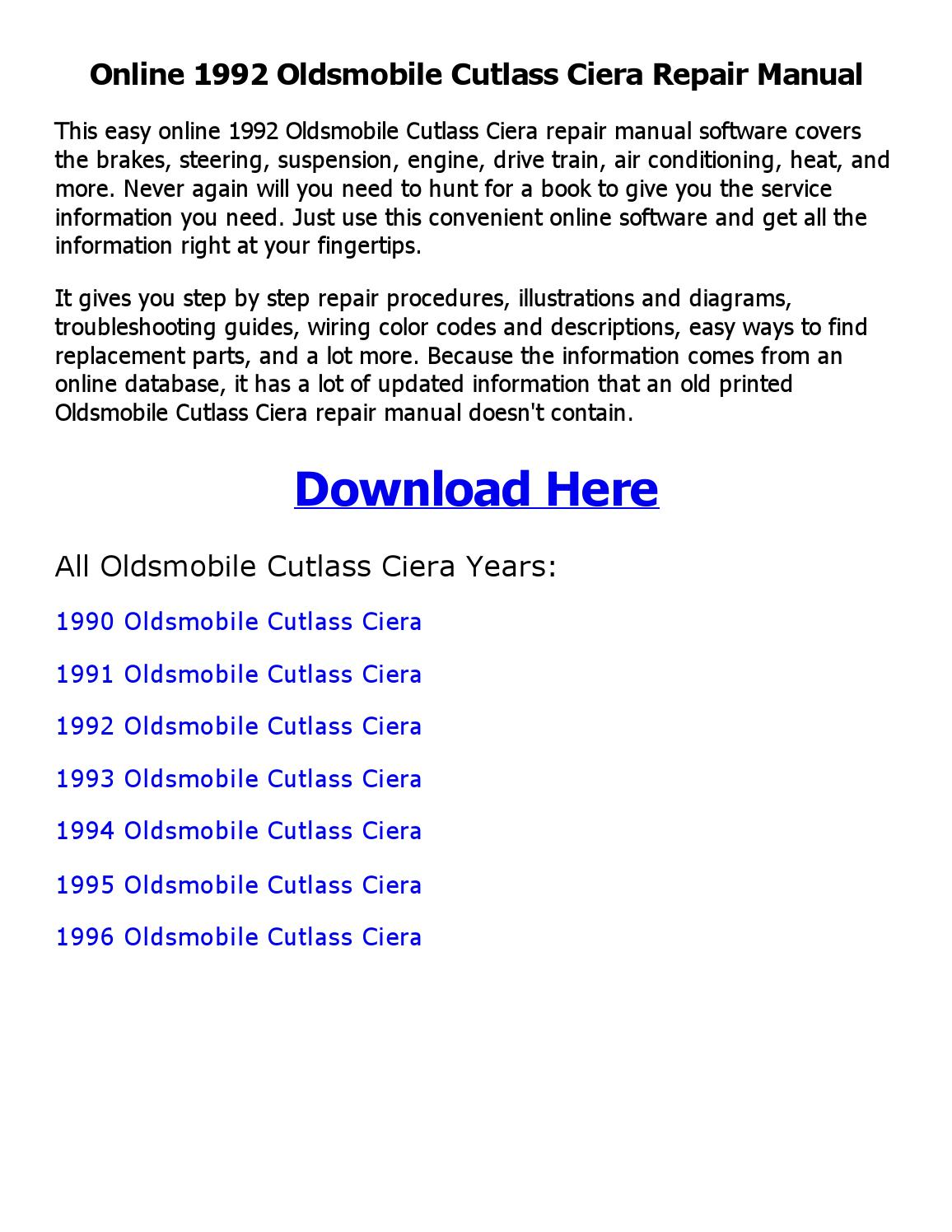 1992 Oldsmobile Cutlass Ciera Repair Manual Online By Jonesalbert012 Issuu