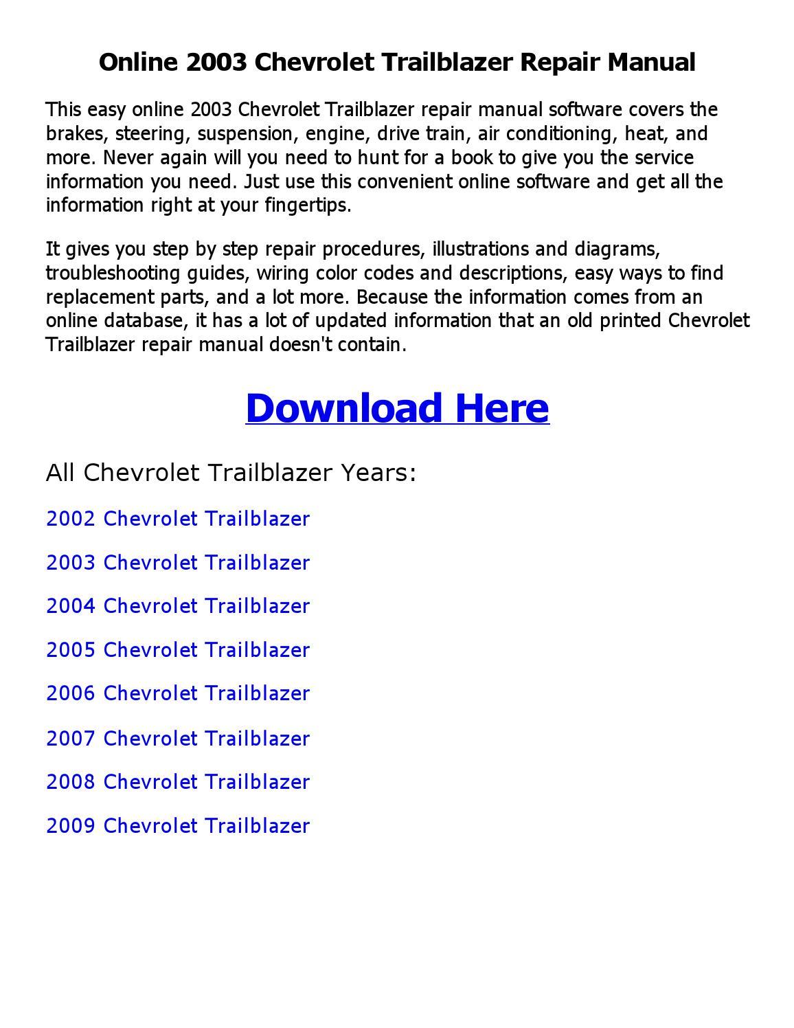 2002 Trailblazer Wiring Diagram 2003 Chevy Trailblazer Electrical