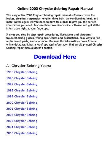2005 chrysler sebring service manual