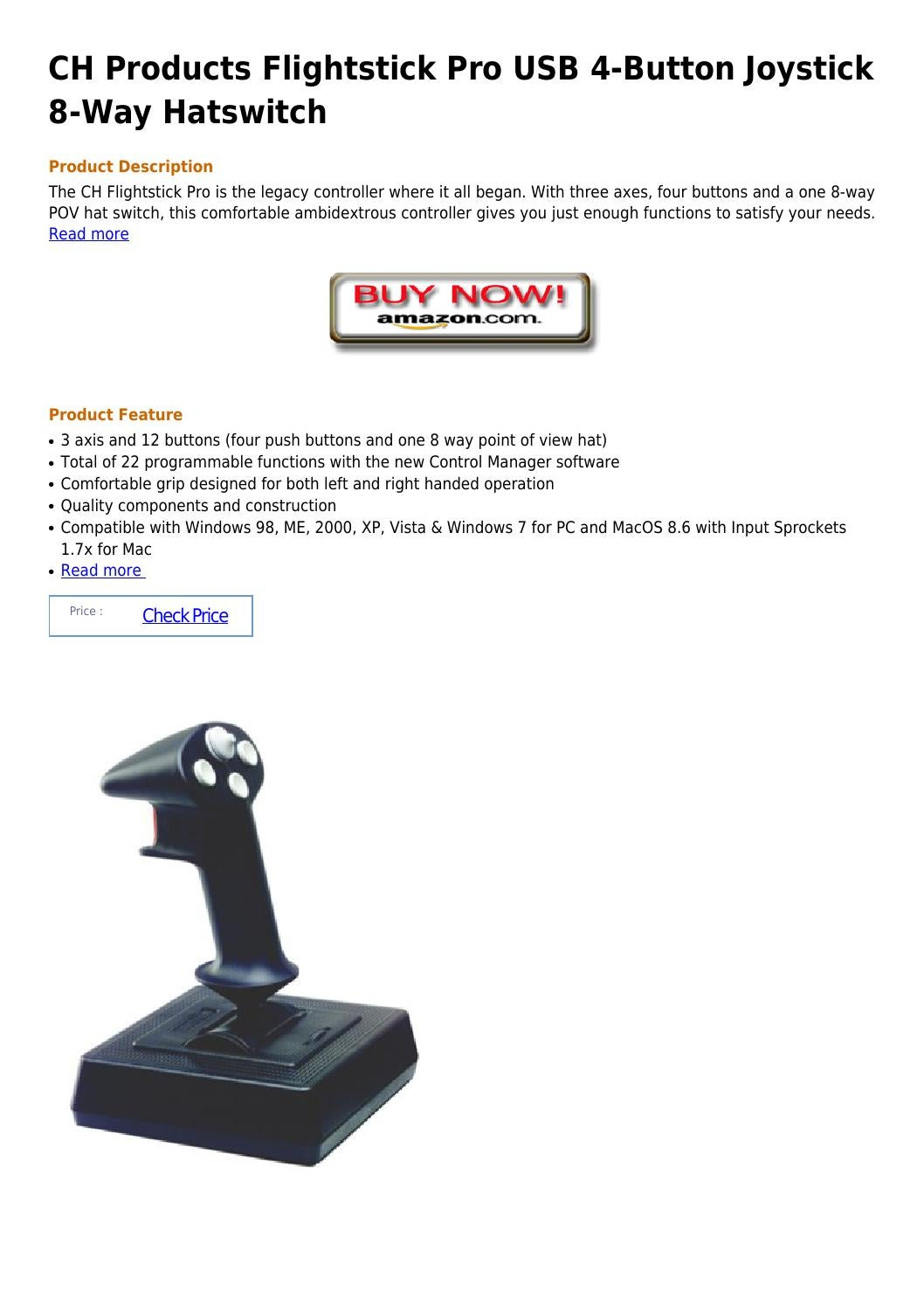 Ch products flightstick pro usb 4 button joystick 8 way hatswitch by