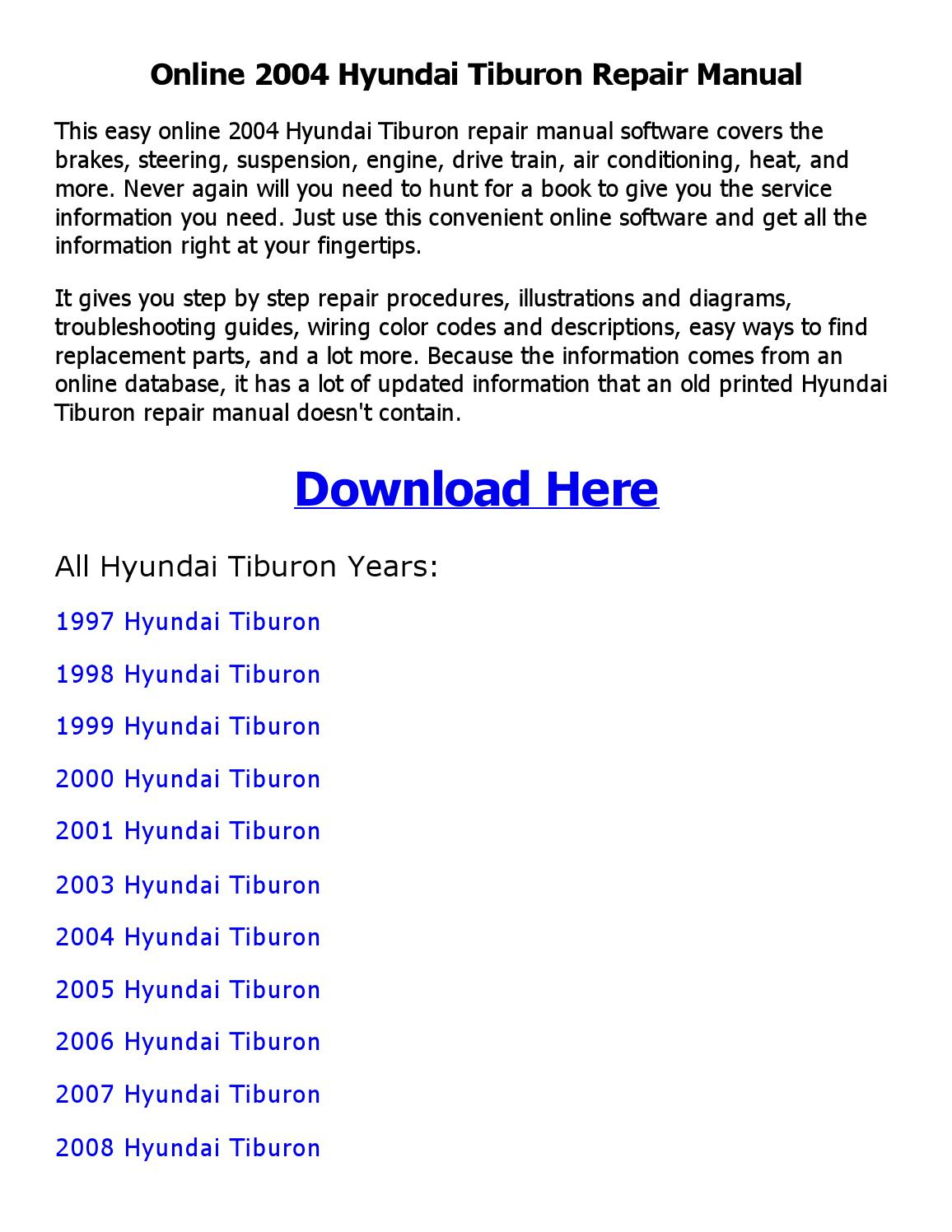 2000 hyundai tiburon wiring diagrams 2004 hyundai tiburon repair manual online by nkouedjo issuu  2004 hyundai tiburon repair manual