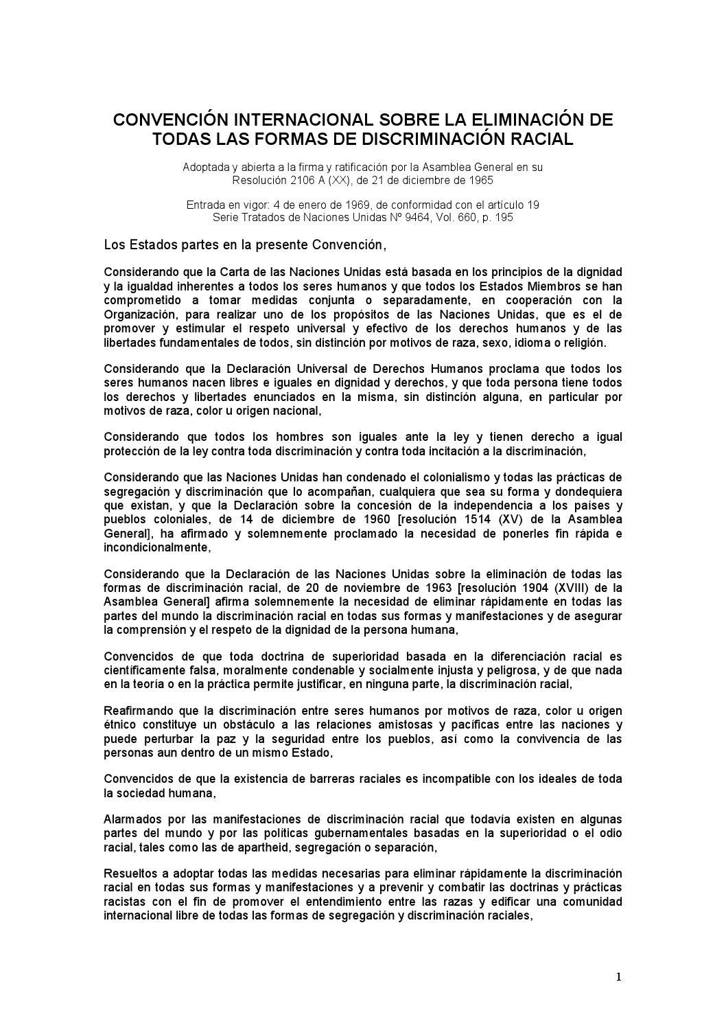 Convencion internacional sobre la eliminacion de todas las formas de ...