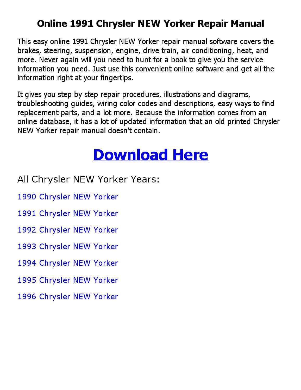 1991 Chrysler New Yorker Repair Manual Online By Ehs 1993 Issuu Diagrams