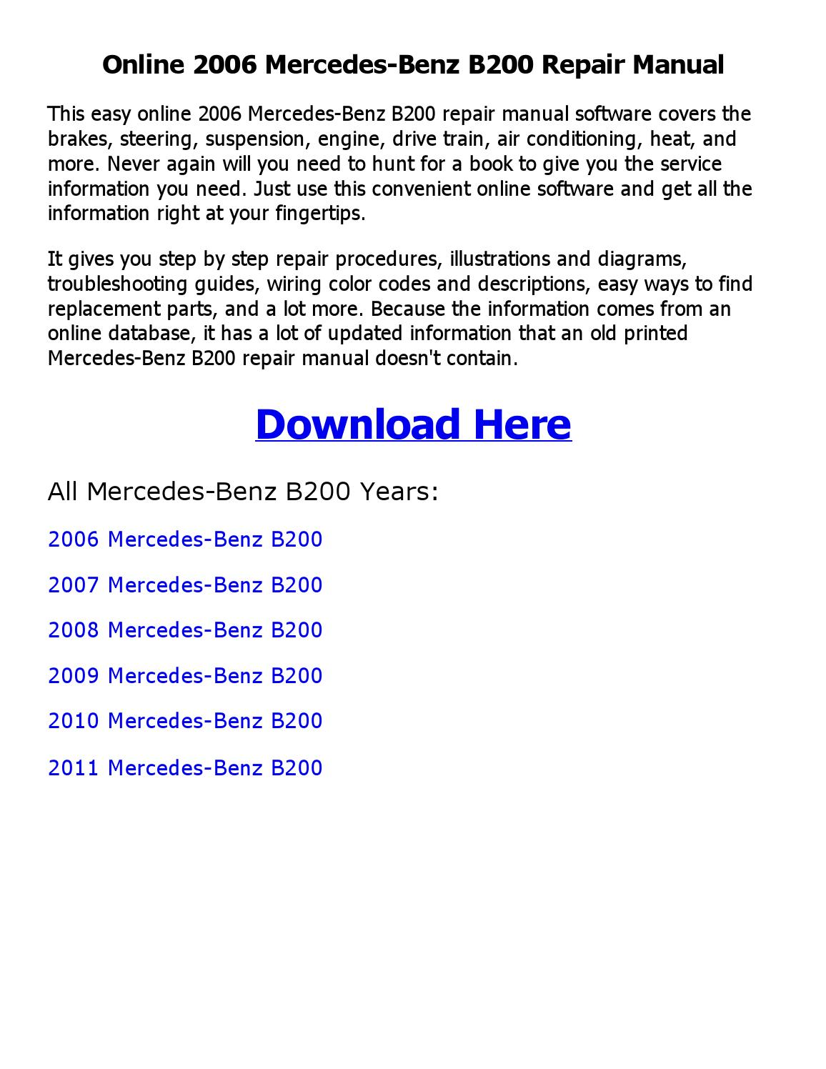 2006 Mercedes Benz B200 Repair Manual Online By Orm82901