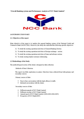 Overall banking system and performance analysis of ncc bank