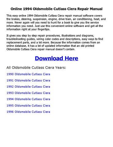 1994 oldsmobile cutlass ciera repair manual online