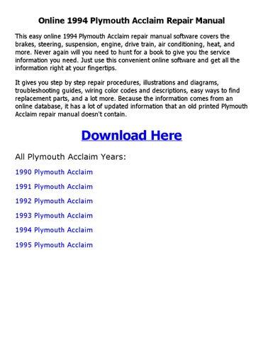 1994 plymouth acclaim repair manual online