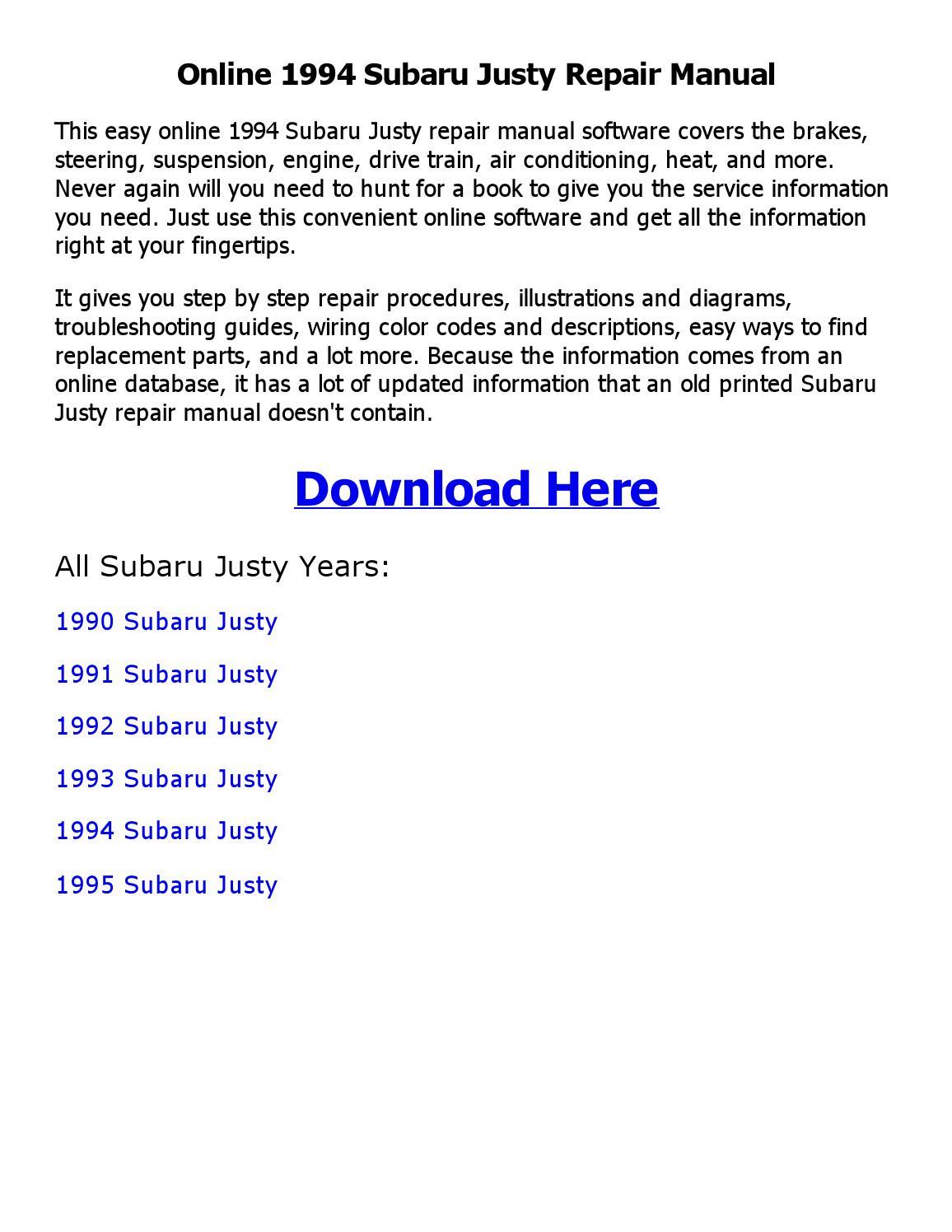 1994 Subaru Justy Repair Manual Online By Sanod Saha Issuu 1992 Engine