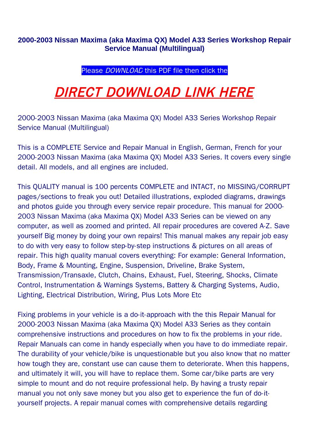 2000 2003 nissan maxima (aka maxima qx) model a33 series workshop repair  service manual (multilingua by bonus300 - issuu