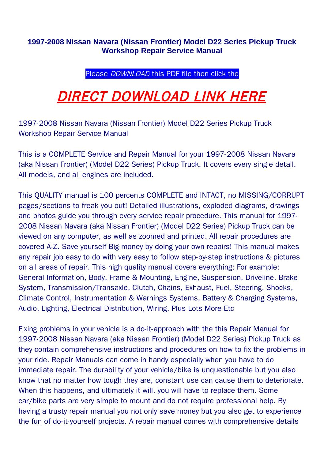 1997 2008 nissan navara (nissan frontier) model d22 series pickup truck workshop  repair service manu by bonus300 - issuu