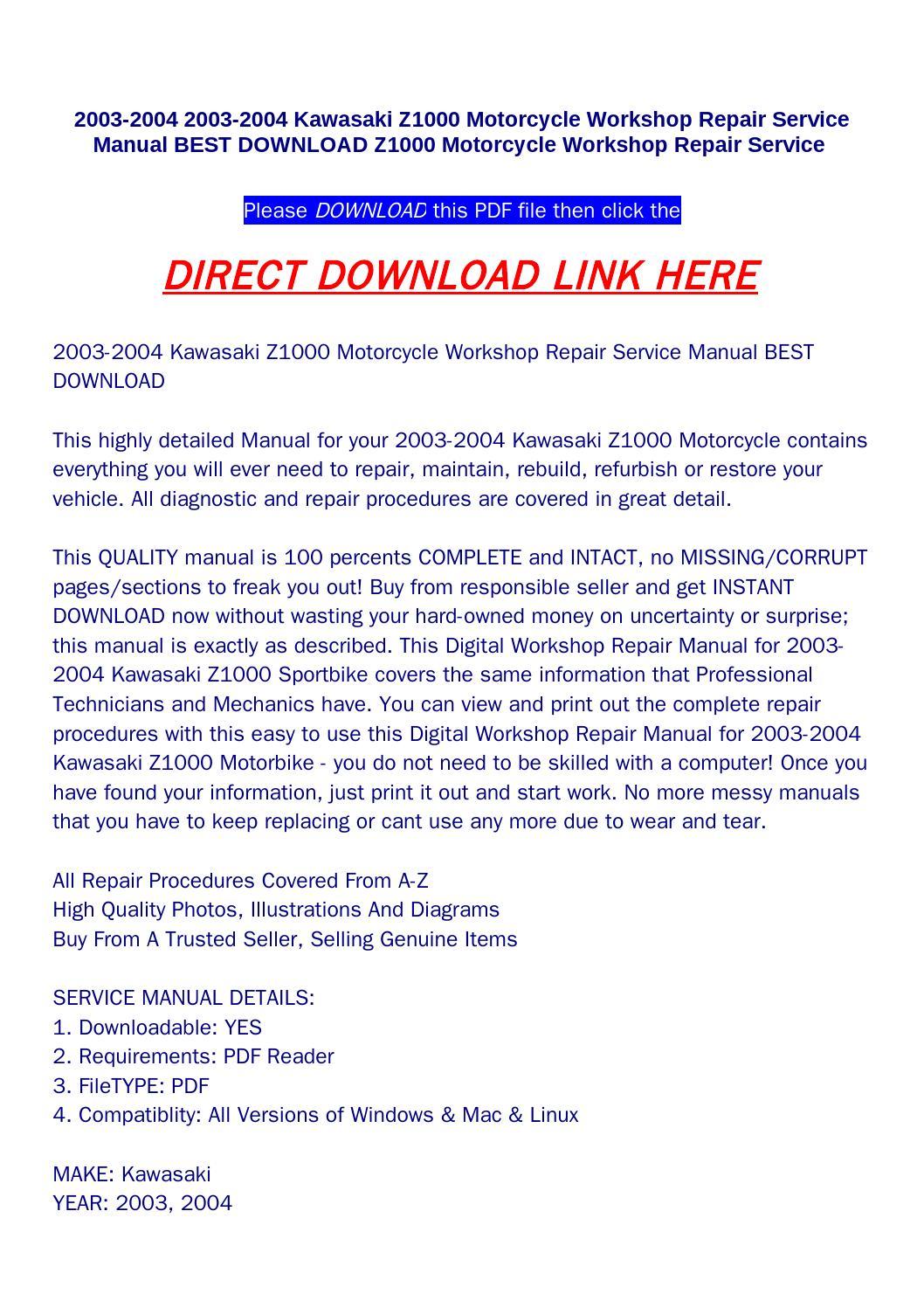 2003 2004 Kawasaki Z1000 Motorcycle Workshop Repair Lighting System Circuit Service Manual Best Download Mot By Bonus300 Issuu