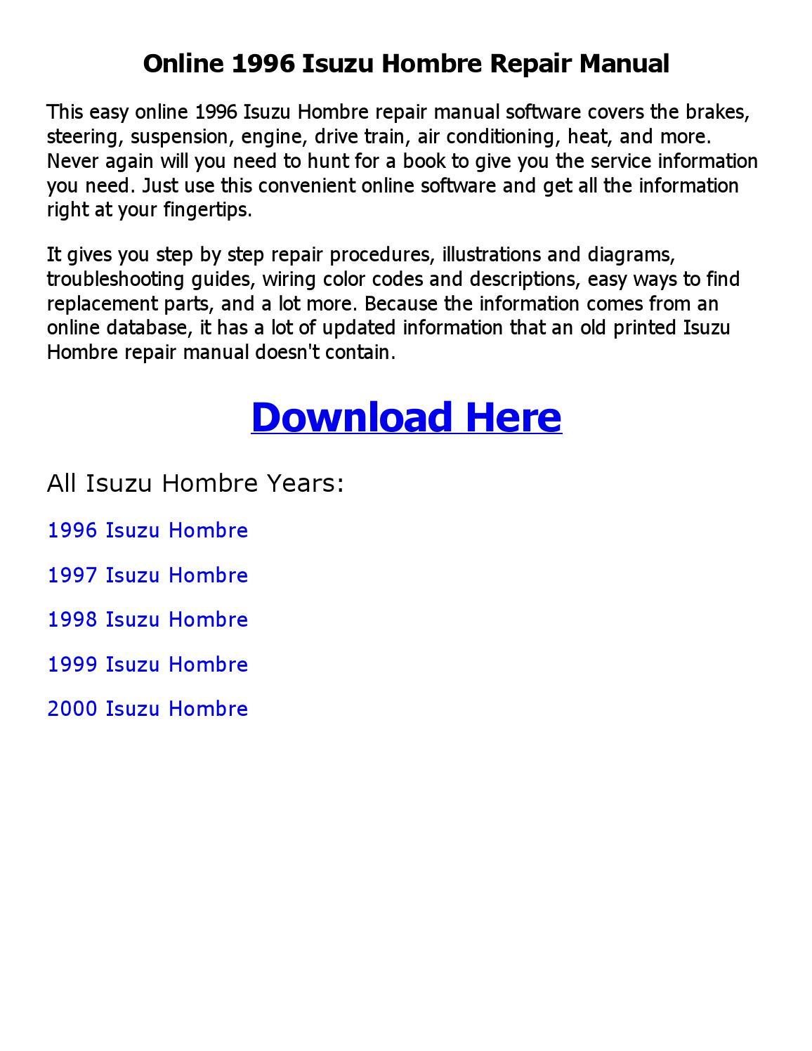 Diagram 1999 Isuzu Hombre Wiring Diagram Full Version Hd Quality Wiring Diagram Toro As4a Fr