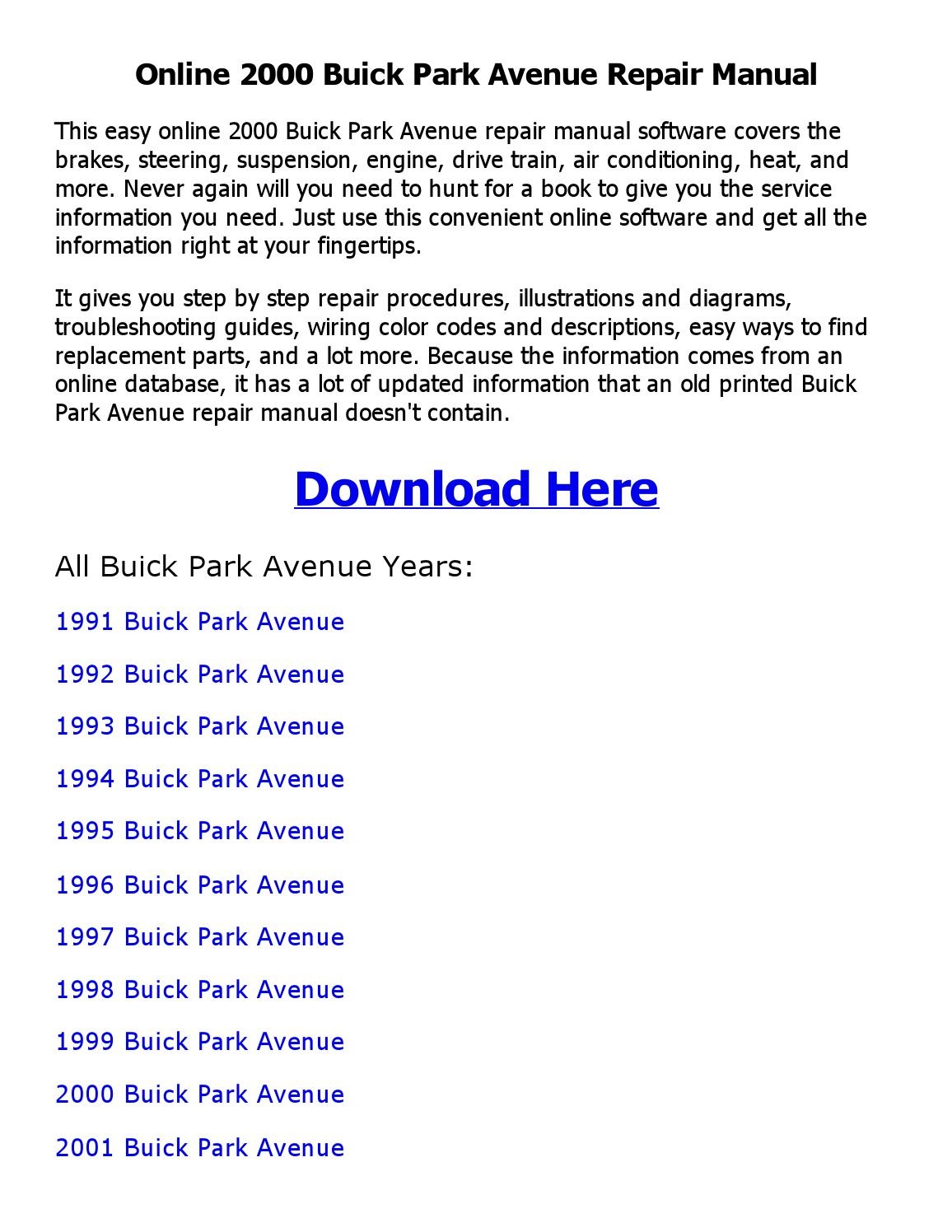 2000 Buick Park Avenue Repair Manual Online By Sajibahamed Issuu 1993 Wiring Diagram