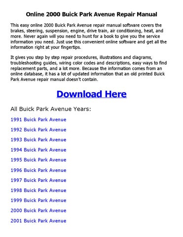 2000 Buick Park Avenue Repair Manual Online By Sajibahamed Issuu