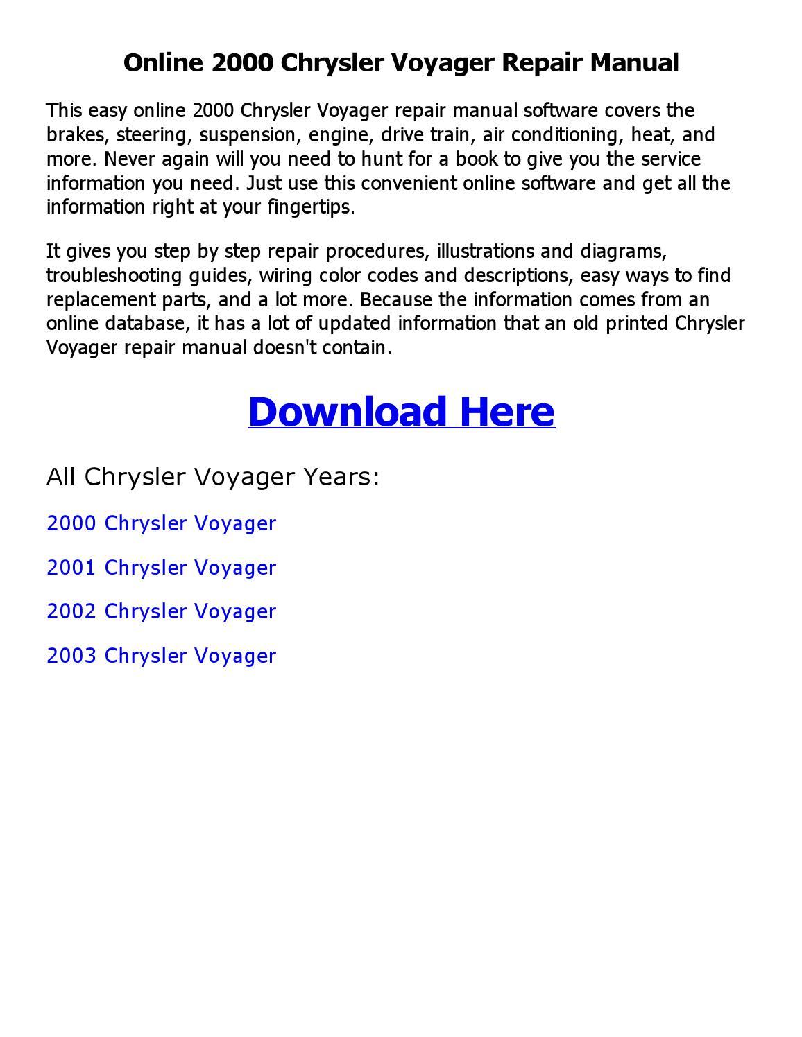 2000 Chrysler Voyager Repair Manual Online By Sajibahamed Issuu Wiring Diagrams Download