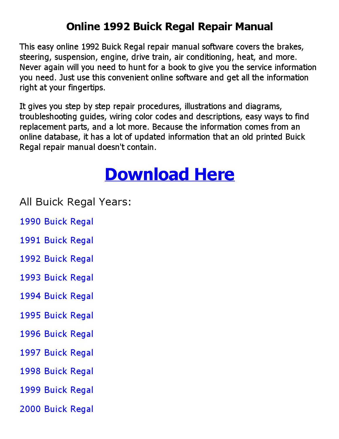 1992 Buick Regal Repair Manual Online By Nathaniel Issuu 1995 Wiring Diagram