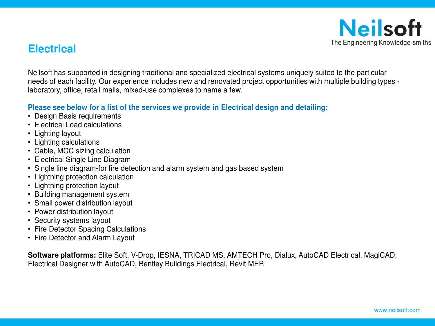 Building Management System Wiring Diagram Library Electric Electrical Design And Detailed Engineering At Neilsoft By