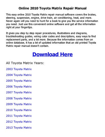 2013 toyota matrix repair manual