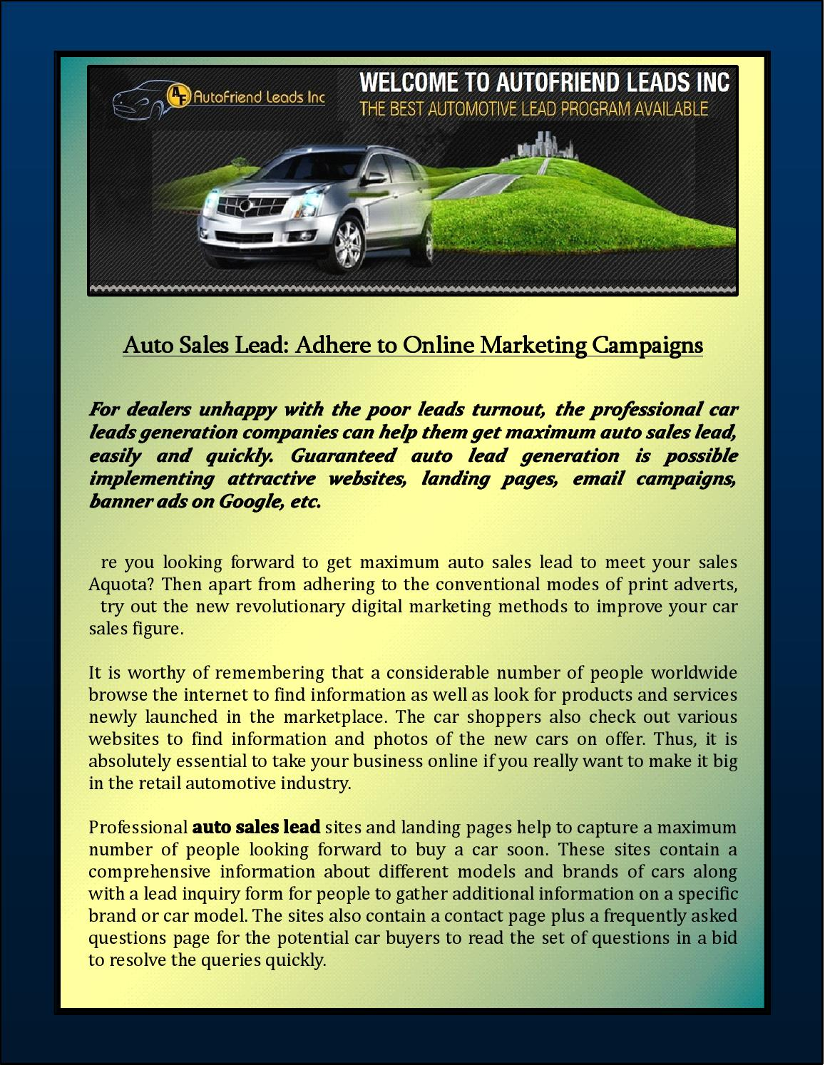 Guaranteed Auto Sales >> Auto Sales Lead Adhere To Online Marketing Campaigns By