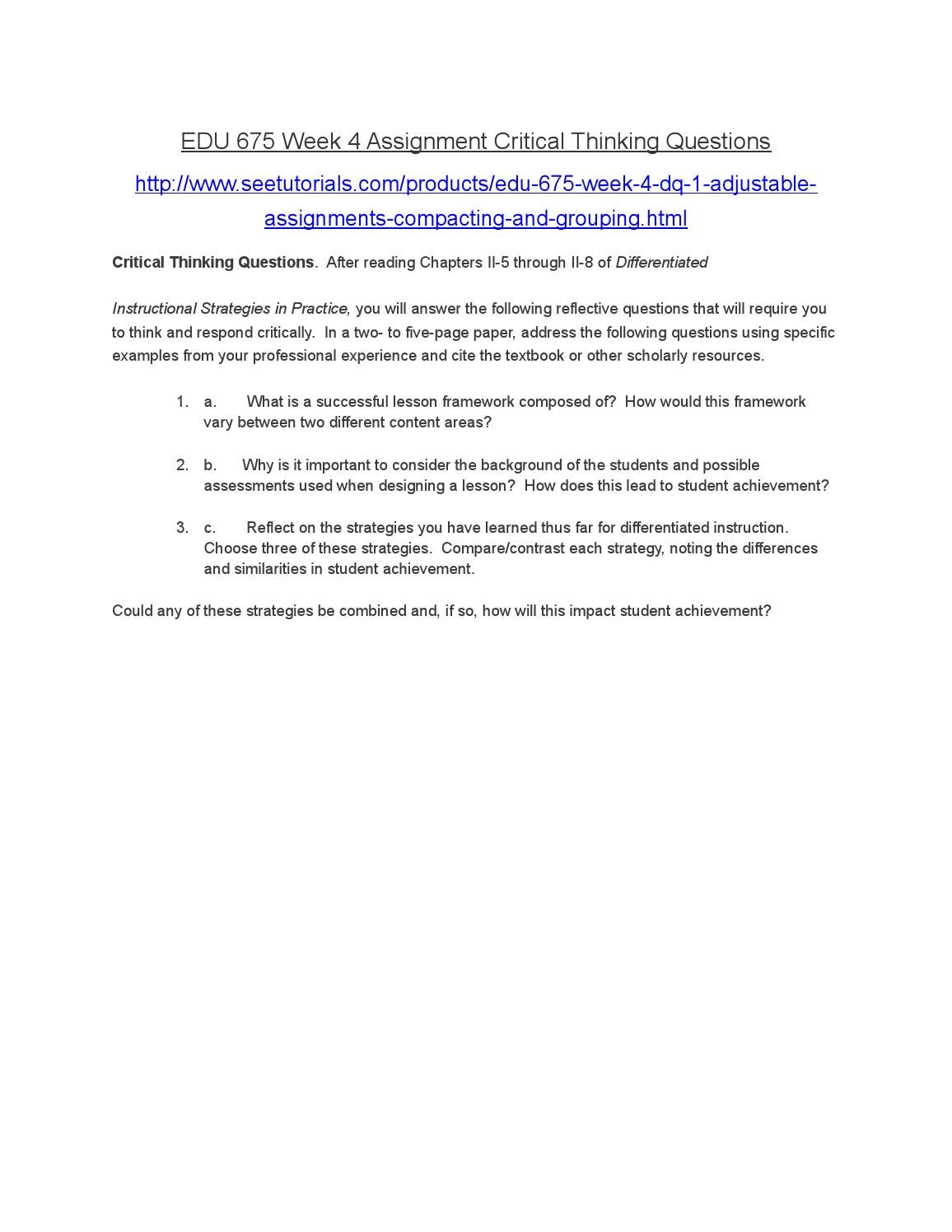 Assignment 2 critical thinking paper