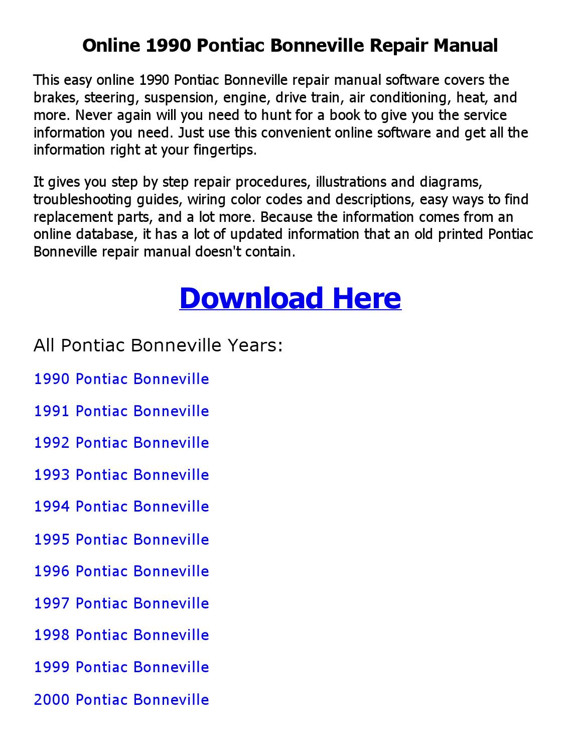 1990 Pontiac Bonneville Repair Manual Online By Sayma Issuu 2000 Engine Diagrams