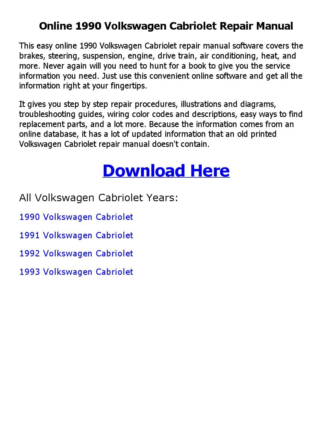 1992 vw cabriolet wiring diagram 1990 volkswagen cabriolet repair manual online by sayma issuu  1990 volkswagen cabriolet repair manual