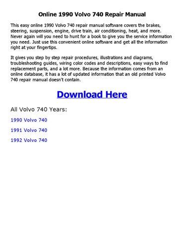 1990 volvo 740 repair manual online by sayma - issuu