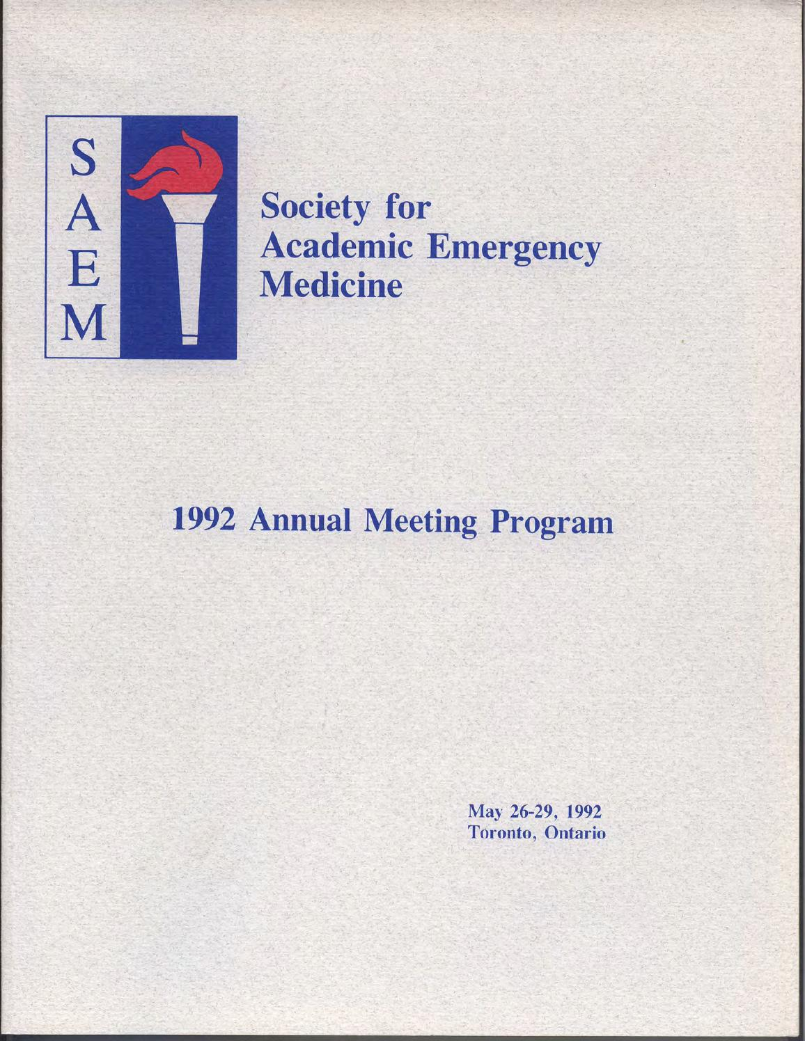 Saem 1992 Annual Meeting Program By Society For Academic Emergency Ford 8n Wiring Diagram Restoration And Repair Tips Medicine Issuu