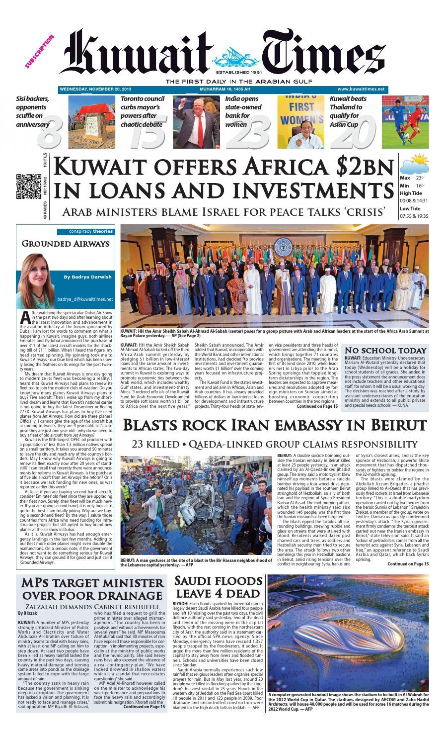 b9cd35a009000 20th Nov 2013 by Kuwait Times - issuu