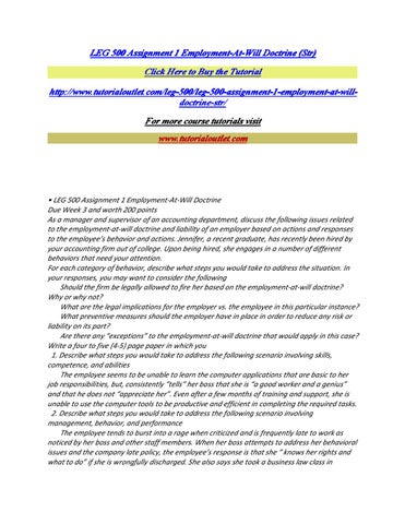 assignment 1 employment at will doctrine Leg 500 assignment 1 summarize the employment-at-will doctrine discussed in the text and then evaluate three (3) of the six (6) scenarios described.