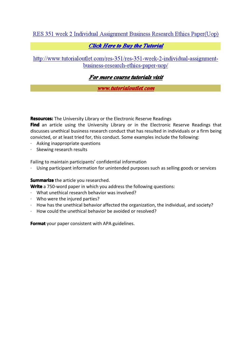 Res 351 week 2 individual assignment business research