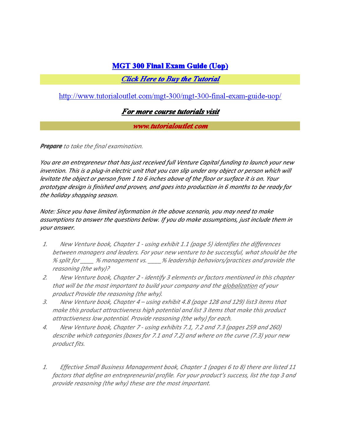 Mgt 300 final exam guide (uop) by softzone484 - issuu