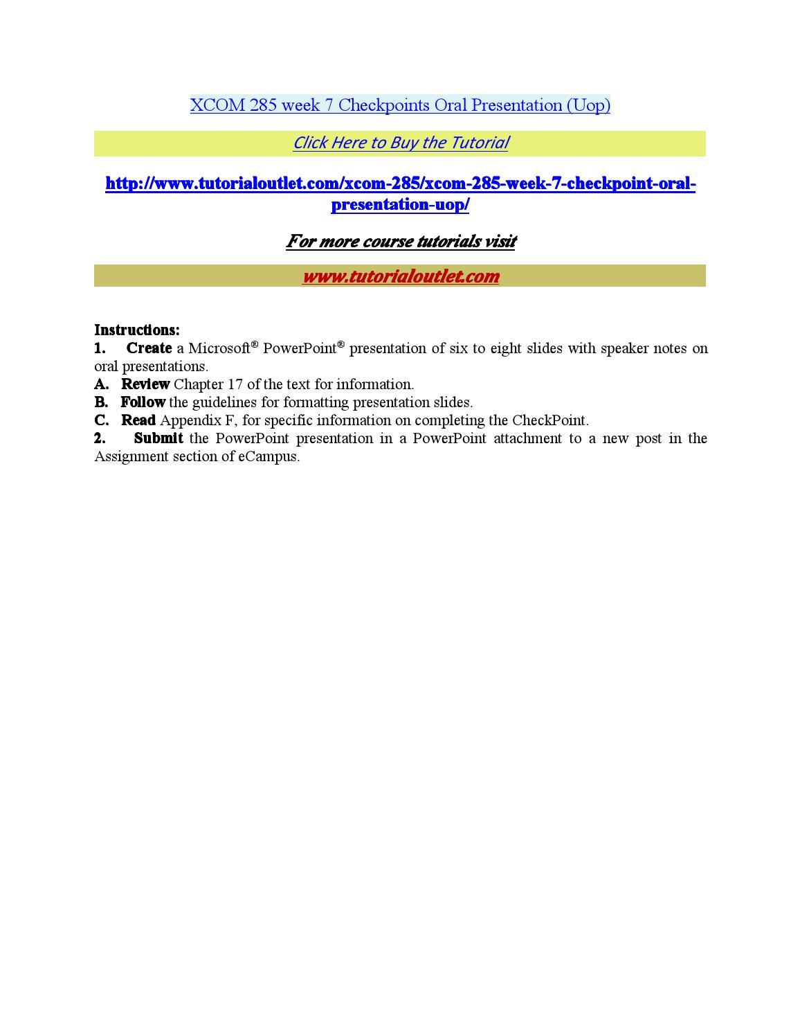 XCOM 285 Complete Course,UOP XCOM 285,UOP XCOM 285 Entire Class,UOP XCOM 285 Homework