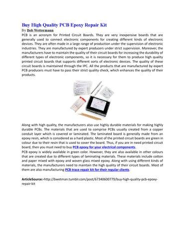 Buy high quality pcb epoxy repair kit by Bob Wettermann - issuu