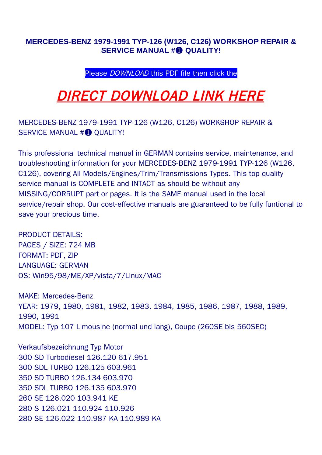 Mercedes benz 1979 1991 typ 126 (w126, c126) workshop repair & service  manual #➀ quality! by bonus300 - issuu