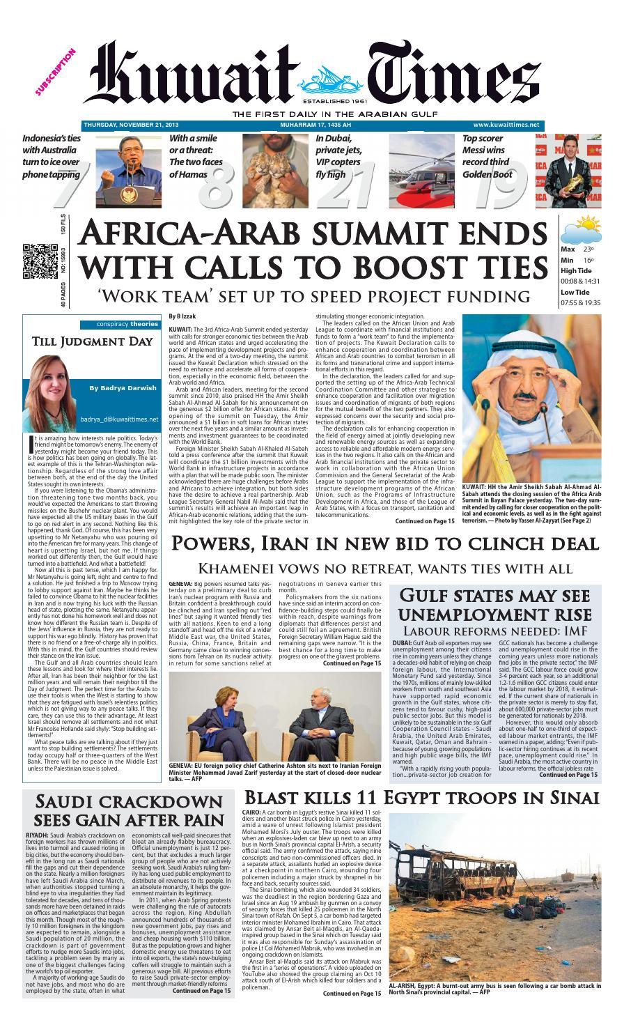 21st Nov by Kuwait Times - issuu