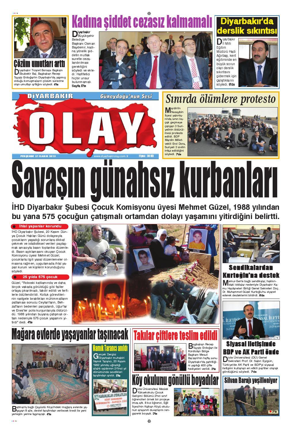 21 11 2013 Gazete Sayfalari By Diyarbakir Olaygazetesi Issuu