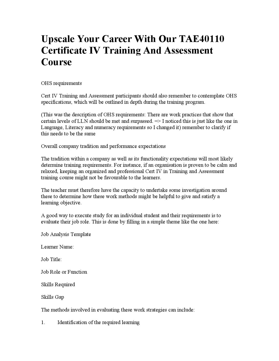 Certificate Iv In Training And Assessment By Merrehill Issuu