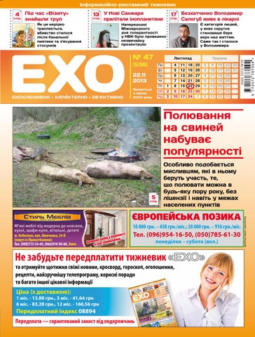 Газета «ЕХО» №47(536) by Тижневик «ЕХО» - issuu 708229e471789