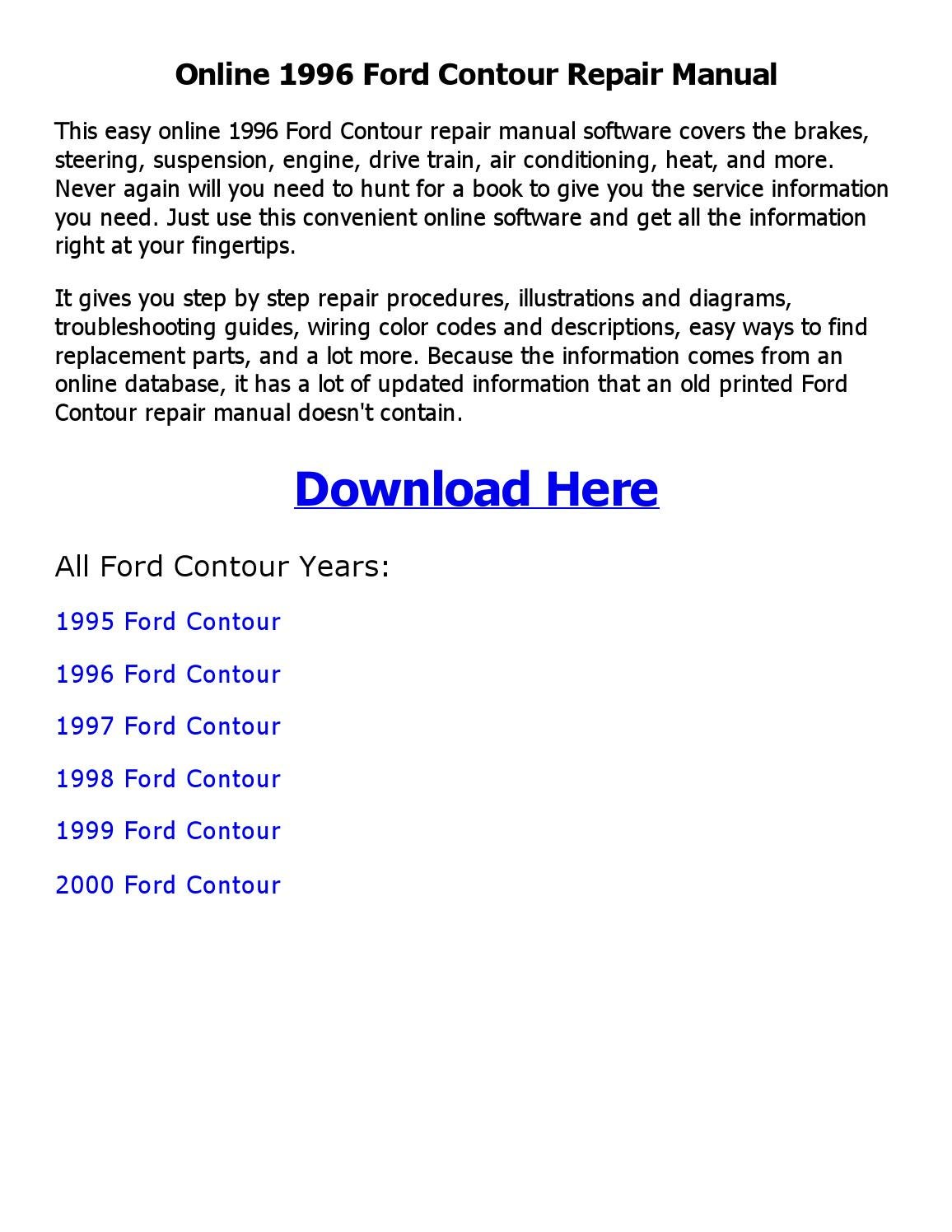 1996 Ford Contour Repair Manual Online By Sajib Issuu 2000 Se Fuse Diagram