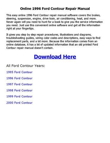1996 ford contour repair manual online by sajib issuu rh issuu com 1998 ford contour svt repair manual 1998 Ford Contour Engine Diagram