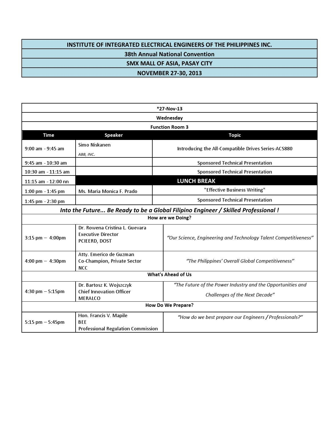 38th Annual National Convention List Of Technical